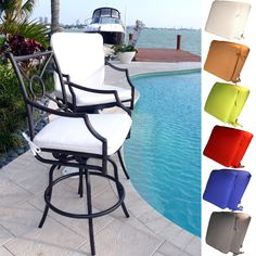 A set of outdoor bar stools make the perfect compliment to a pub-height patio table or tiki bar. The cast aluminum stools are powder coated for weather resistance, and upholstered in white Sunbrella fabric. One set includes two bar stools.
