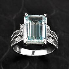 Aquamarine Ring Gold Diamond Aquamarine by CaliRoseJewelry on Etsy