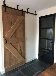Sliding Door Systems, Sliding Doors, Mobile Home Makeovers, Barn Door Designs, Room Doors, Single Doors, Eclectic Decor, Rustic Kitchen, Tall Cabinet Storage