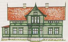 Trävilla 1890-tal Swedish Style, Swedish House, Porch Balusters, Scandinavian Design, My House, Beautiful Homes, Multi Story Building, Villa, Tower