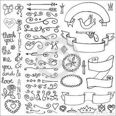 Garabatea las cintas, insignias, flechas, elemento de la decoración Amor