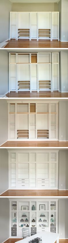 DIY Built-in Bookcases made with Ikea Hemnes Furniture, Custom Built-in Storage,. - Ikea DIY - The best IKEA hacks all in one place Built In Bookcase, Built In Storage, Ikea Storage, Storage Ideas, Craft Storage, Dvd Storage, Bookshelf Diy, Wall Storage, Unique Bookshelves