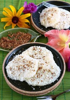 Palitaw is a Filipino afternoon snack or 'merienda' that consist mainly of glutinous rice coated with grated coconut and sugar and sometimes roasted sesame seed