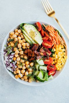 Could You Eat Pizza With Sort Two Diabetic Issues? A Vegan Cobb Salad Recipe That Gives You All Of The Delicious Flavors Of A Traditional Cobb Salad Along Of Plant-Based Protein Vegan, Gluten-Free And A Perfect Meal-Sized Salad. High Protein Vegan Recipes, Healthy Salad Recipes, Vegetarian Recipes, Pasta Recipes, Tempeh Bacon, Salad Recipes For Dinner, Vegan Meal Prep, Tzatziki, Guacamole
