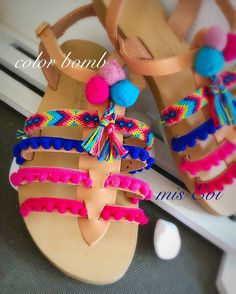 Color bomb!!!! Handmade leather sandals Girls Spring Dresses, Bohemian Sandals, Greek Sandals, Handmade Leather, Huaraches, Beautiful Shoes, Anastasia, Leather Sandals, Desi