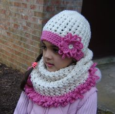 PDF Instant Download Crochet PATTERN No 138 Cream Hat and Cowl