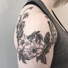 Rebecca Dewinter || More of Emily's shoulder wreath - Rebeccadewintertattoo@gmail.com