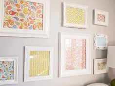 Framed Scrapbook Paper On White Walls Hanging Pictures
