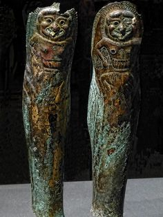 Bronze Greaves with Bone Inlay engraved with images of a Gorgon Greek Apulia Italy 550-500 BCE | Flickr: Intercambio de fotos, (why does the Greek Gorgon look just like the Egyptian God Bes? Just sayin').