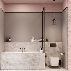 A Luxurious Home Interior with Pretty, Muted Pastel Colors While we may often think of pastel colors as appropriate for nurseries or children's rooms, the truth is they can take on a much more mature feel in the hands o - Marble Bathroom Dreams Bad Inspiration, Bathroom Inspiration, Grey Bathrooms, Small Bathroom, Bathroom Marble, Bathroom Spa, Marble Wall, Pink Marble, Marble Shelf