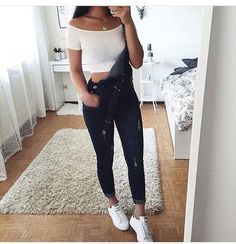 jeans denim grey dungarees jumpsuit tumblr tumblr outfit dungares black crop tops white adidas adidas shoes overalls