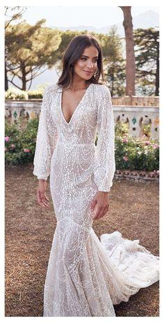 Wedding Dress Mermaid Lace, Rustic Wedding Dresses, Wedding Dress Trends, Wedding Dress Sleeves, Dream Wedding Dresses, Modest Wedding, Wedding Ideas, Wedding Bride, Boho Bride