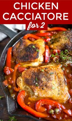 Chicken cacciatore recipe for two. Easy chicken cacciatore made in a cast iron skillet to serve two. chickenthighs chicken chickenrecipes chickencacciatore cacciatore skilletmeals onepan onepanmeals chickenandpeppers via 86201780353160287 Cacciatore Recipes, Chicken Cacciatore Easy, One Dish Dinners, One Pan Meals, Easy Meals, Cooking For Two, Easy Cooking, Healthy Recipes, Dinner Ideas