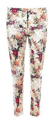 NWT ZARA NUDE MULTICOLOR FLORAL ROSES PRINT PIQUE CROPPED TROUSERS DRESS PANTS S