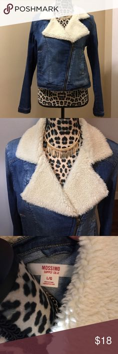 Denim jacket with faux sheep neck. Tapered fit. Excellent condition! Comfortable and classy denim jacket. Only worn once. Says large but fits more like a Med-large. Would look cute with jeans and boots or booties! 👖👢 Jackets & Coats Jean Jackets