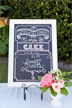 """Chalk board for """"Dessert will open at..."""" sign"""