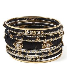 Black Crystal & Goldtone Ankara Bangle Set