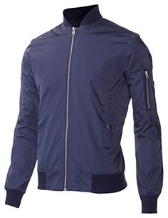FLATSEVEN Mens Lightweight Varsity Baseball Bomber College Jacket with Zipper Pocket Sleeve (VSJ303) Navy, M FLATSEVEN #mens jackets #menswear #jackets #denim #mens fashion