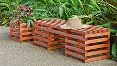 Create a resting spot in your garden with this easy-to-build bench. Use the same technique to build a matching planter container.