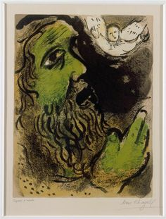 "artist-chagall: "" Job praying by Marc Chagall Size: 52.5x38 cm Medium: lithography on paper"""