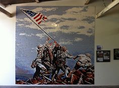 Iwo Jima Mosaic - Finished this weekend at Brickmania Toyworks. Measures 12 1/2 feet by 12 1/2 feet and is made up of over 100,000 LEGO bricks.