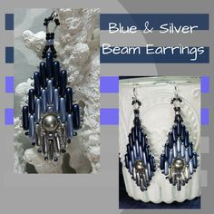 Blue, Light Blue & Silver Earrings, MADE TO ORDER, Beam Earrings, Beaded Earrings, Metallic Earrings, Longer Earrings, Gift for Her by SHBeadCreations on Etsy