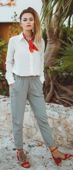 #spring #outfits White Shirt + Grey Pants + Red Sandals