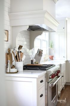 Tour my Bayberry Kitchen Remodel Reveal. A traditional kitchen with touches of vintage and modern details. Custom cabintey and highend applaicnes. White Kitchen Decor, New Kitchen, Kitchen Ideas, Kitchen Colors, Mason Jars, White Dinnerware, Upper Cabinets, Small Dining, Traditional Kitchen