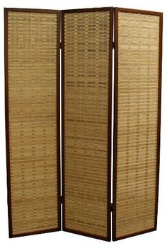 Bamboo frame room divider is  a great accent in a natural theme decor, Ore International 3 Panel Room Divider - Walnut