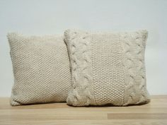Handmade knitted pillow set in light beige color. Cover is two sided. Envelope enclosure with snap fastener on the bottom.  Size: 18x18 / 46cm x