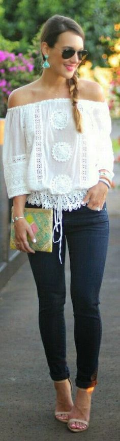 Blusas de moda verano 2016 (Off The Shoulder Top Street Style) Style Désinvolte Chic, Style Blog, Mode Style, Boho Chic, Bohemian Style, Look Fashion, Fashion Outfits, Fashion Trends, Gypsy Fashion