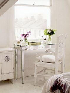 Modern glass desk, shabby chic white room