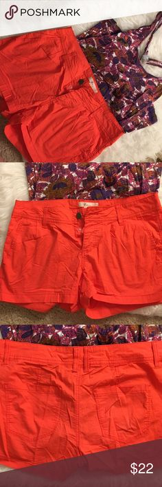 🆕 Orange Highwaisted Shorts Lightweight material with little stretch. Coral colored. Forever 21 Shorts