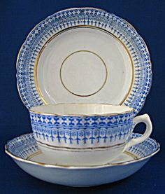 Staffordshire Blue Transfer Cup Saucer Plate 1850-1870s. Click the image for more information.