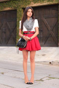 square shoulders, flared skirt