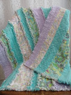 Paisley and Polka Dots Flannel Baby Strip Rag Quilt, Crib Quilt/Blanket- Purple, Turquoise/Aqua by DreamsByDee on Etsy