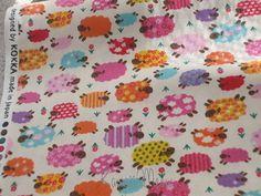 Kawaii Japanese Fabric  Colorful Sheeps on Ivory  by KawaiiMeow, $4.60
