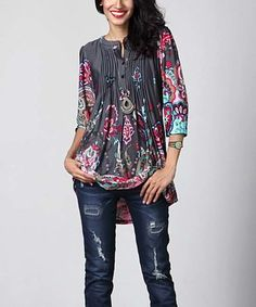 Look what I found on #zulily! Charcoal Paisley Notch Neck Pin Tuck Tunic #zulilyfinds