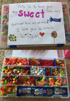I'm moving away to New York for college so I gave my boyfriend (who lives in California) this box full of candy. Super easy! Just buy an empty tackle box (I got mine for about $4 from Walmart) and fill each slot with different candies. Voila!