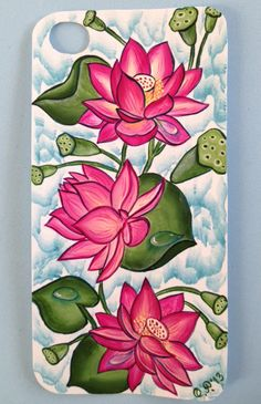 Vibrant pink floral iphone design! Lotus Flower Art, Lotus Art, Pichwai Paintings, Indian Art Paintings, Madhubani Art, Madhubani Painting, Kerala Mural Painting, Painting Gallery, Diy Canvas Art