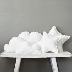 DIY cloud and star pillows Diy Pillows, Cushions, White Pillows, Star Cushion, Cloud Cushion, Cloud Pillow, Softies, Plushies, Kids Decor