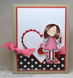 cute little girl character cut out with die cut heart, b-w polka dot paper and pink ribbon