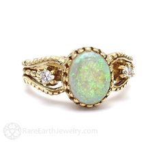 Vintage Oval Cut Opal Ring with Diamond Accents