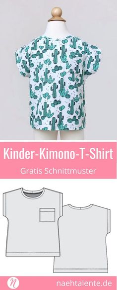 Freebook für ein Kinder-T-Shirt Jersey. PDF-Schnittmuster Größe 62 - 116 im Kimono-Stil. ✂️ Nähtalente - Das Magazin für Hobbyschneider/innen mit Schnittmuster-Datenbank ✂️ Freebook for a children-T-shirt for knits. Free PDF-sewing-pattern in size 62 - 116 with kimono-style. ✂️ Nähtalente - Magazin for sewing and free sewing pattern ✂️ #nähen #freebook #schnittmuster #gratis #nähenmachtglücklich #freesewingpattern #handmade #diy via @Naehtalente