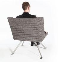 The chair is a sculpted assembly of rapidly-renewable felt sheets, supplanting foams, upholstery and anything applied. The cascading edges of the felt sheets create an integral pattern with both a visual and tactile effect by Ben Mickus