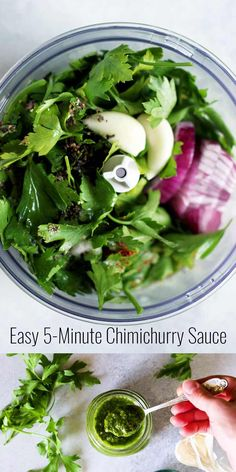 Easy 5-minute Vegan Chimichurri Sauce recipe made with parsley, garlic, lemon, vinegar and olive oil balances the flavors of any savory dish, not only steak! Perfect condiment for the summer grilling season!