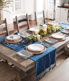 25 New Ideas outdoor furniture sets dining tables Pottery Barn Table, Pottery Barn Kitchen, Deco Table, Easy Home Decor, Decoration Table, Dining Room Design, Dining Room Table, Outdoor Furniture Sets, Table Settings