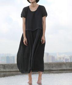 Black Dress linen women dress white dress loose by fashiondress6, $130.00