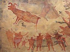 Representacion de las Pinturas Rupestres de las Cuevas de San Francisco, San Ignacio, Baja California Sur, Mexico