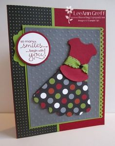 Dress using Round Tab punch and Scallop circles die, pinking hearts punch, decorative label or curly label punch